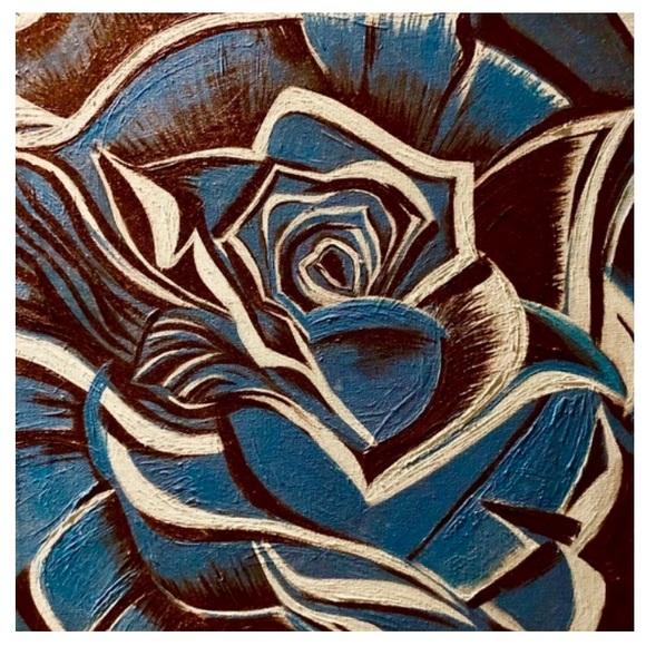 Blue Dark or bright Rose Art Print Wall Decor